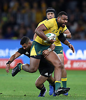 Samu Kerevi of the Wallabies is tackled by Richie Mo'unga of the All Blacks during the Rugby Championship match between Australia and New Zealand at Optus Stadium in Perth, Australia on August 10, 2019 . Photo: Gary Day / Frozen In Motion