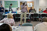 Devon Hall at a REACH meeting that organizes the community against CAFOs in Warsaw, North Carolina Wednesday, November 14, 2018. (Justin Cook)
