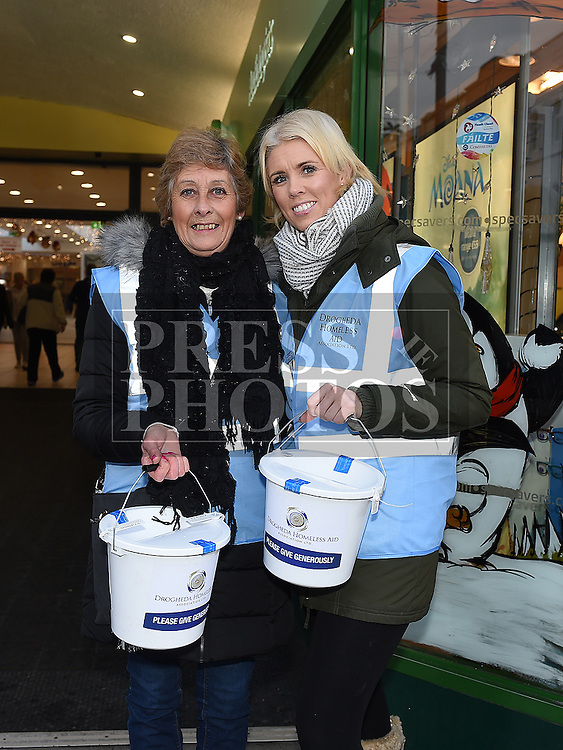 Marion Whelan and Tanya McCabe collecting on West Street at the annual sleepout for Drogheda Homeless Aid. Photo:Colin Bell/pressphotos.ie
