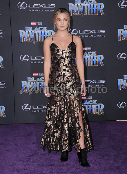"29 January 2018 - Hollywood, California - Olivia Holt. Marvel Studios' ""Black Panther"" World Premiere held at Dolby Theater. Photo Credit: Birdie Thompson/AdMedia"