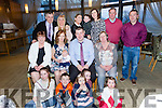 Parents Marie O'Leary and Nigel O'Leary, Causeway, celebrate the Christening of Baby Devin at St Michael Church Lixnaw by Fr. Brick and after with family and friends at Ballyroe Heights Hotel on Saturday