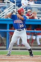 Auburn Doubledays designated hitter Carlos Lopez #20 during a NY-Penn League game against the Batavia Muckdogs at Dwyer Stadium on September 3, 2012 in Batavia, New York.  Auburn defeated Batavia 5-3.  (Mike Janes/Four Seam Images)