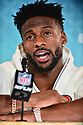 MIAMI, FL - JANUARY 27: San Francisco 49ers Wide Receiver Emmanuel Sanders (#17)  answers questions from the media during the NFL Super Bowl ( LIV)(54) Opening Night at Marlins Park on January 27, 2020  in Miami, Florida. ( Photo by Johnny Louis / jlnphotography.com )