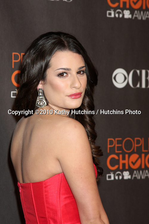 Lea Michele.arriving  at the 2010 People's Choice Awards.Nokia Theater.January 6, 2010.©2010 Kathy Hutchins / Hutchins Photo.