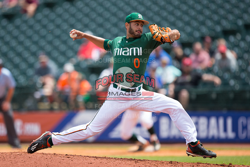 Miami Hurricanes relief pitcher Gregory Veliz (0) delivers a pitch to the plate against the Wake Forest Demon Deacons in Game Nine of the 2017 ACC Baseball Championship at Louisville Slugger Field on May 26, 2017 in Louisville, Kentucky.  The Hurricanes defeated the Demon Deacons 5-2 to advance to the semi-finals.  (Brian Westerholt/Four Seam Images)