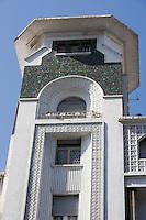 Afrique/Afrique du Nord/Maroc /Casablanca: détail immeuble art-déco rue Allal Ben Abdellah