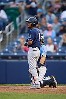 New Hampshire Fisher Cats third baseman Santiago Espinal (4) at bat during a game against the Trenton Thunder on August 19, 2018 at ARM & HAMMER Park in Trenton, New Jersey.  New Hampshire defeated Trenton 12-1.  (Mike Janes/Four Seam Images)