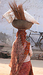 Woman with Bowl on Head-Bazaar in Taj Ganj, Agra