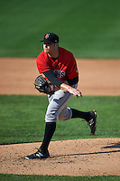 Indianapolis Indians pitcher Casey Sadler (45) follows through on a pitch during a game against the Rochester Red Wings on June 10, 2015 at Frontier Field in Rochester, New York.  Indianapolis defeated Rochester 5-3.  (Mike Janes/Four Seam Images)