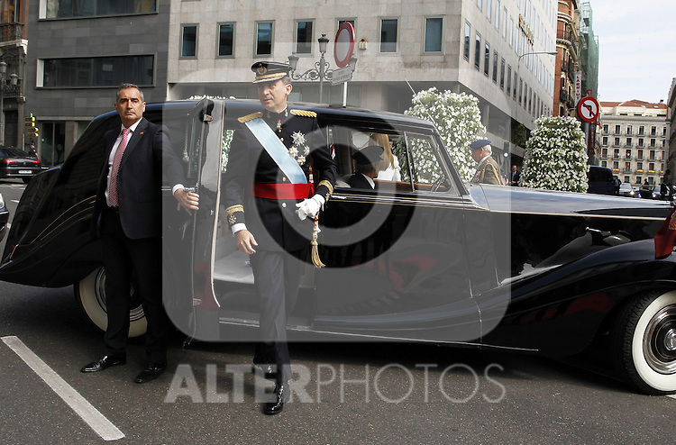 Coronation ceremony in Madrid. King Felipe VI of Spain arrive at Congreso de los Diputados. Madrid, June 19 ,2014. (ALTERPHOTOS/EFE/Pool)