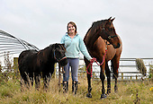 Horses notebook - Rachel McKenzie with Ricki and Charlie (right!) - picture by Donald MacLeod - 19.10.12 - 07702 319 738 - clanmacleod@btinternet.com - www.donald-macleod.com