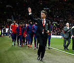 Louis van Gaal manager of Manchester United waves to the fans as he arrives at the start on the game - English Premier League - Manchester Utd vs Chelsea - Old Trafford Stadium - Manchester - England - 28th December 2015 - Picture Simon Bellis/Sportimage