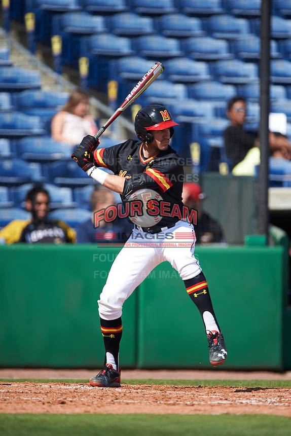 Maryland Terrapins first baseman Brandon Gum (5) at bat during a game against the Alabama State Hornets on February 19, 2017 at Spectrum Field in Clearwater, Florida.  Maryland defeated Alabama State 9-7.  (Mike Janes/Four Seam Images)
