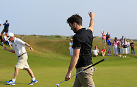 Gerard Dunne (Co. Louth) birdies on the 16th during Round 4 of the East of Ireland Amateur Open Championship sponsored by City North Hotel at Co. Louth Golf club in Baltray on Monday 6th June 2016.<br /> Photo by: Golffile   Thos Caffrey