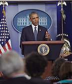 United States President Barack Obama makes remarks about the elections in Afghanistan, the Israeli-Palestinian conflict, and economic sanctions against Russian interests in response the crisis in Ukraine at The White House in Washington, DC, July 16, 2014. <br /> Credit: Chris Kleponis / Pool via CNP