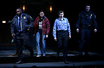 "Brian Tyree Henry, Bel Powley, Michael Cera and Chris Evans taking their first performance curtain call bow for ""Lobby Hero"", marking Evans' Broadway debut and the inaugural performance at Second Stage's Hayes Theater on March 1, 2018 at The Hayes Theatre in New York City."
