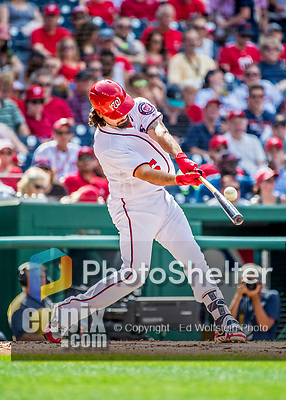 8 July 2017: Washington Nationals third baseman Anthony Rendon connects against the Atlanta Braves at Nationals Park in Washington, DC. The Braves shut out the Nationals 13-0 to take the third game of their 4-game series. Mandatory Credit: Ed Wolfstein Photo *** RAW (NEF) Image File Available ***