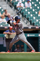 Lehigh Valley IronPigs Jose Antequera (18) at bat during an International League game against the Buffalo Bisons on June 9, 2019 at Sahlen Field in Buffalo, New York.  Lehigh Valley defeated Buffalo 7-6 in 11 innings.  (Mike Janes/Four Seam Images)