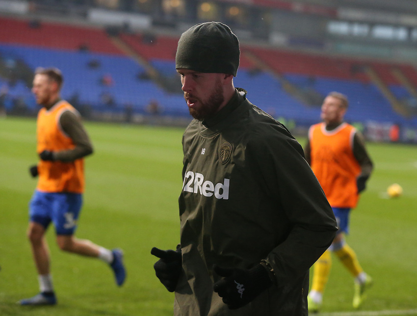 Leeds United players during the pre-match warm-up <br /> <br /> Photographer Stephen White/CameraSport<br /> <br /> The EFL Sky Bet Championship - Bolton Wanderers v Leeds United - Saturday 15th December 2018 - University of Bolton Stadium - Bolton<br /> <br /> World Copyright © 2018 CameraSport. All rights reserved. 43 Linden Ave. Countesthorpe. Leicester. England. LE8 5PG - Tel: +44 (0) 116 277 4147 - admin@camerasport.com - www.camerasport.com