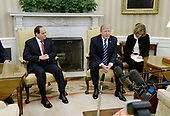 United States President Donald Trump meets with President Abdel Fattah Al Sisi of Egypt in the Oval Office of White House in Washington, DC, April 3, 2017.<br /> Credit: Olivier Douliery / Pool via CNP