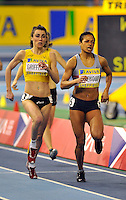 Photo: Paul Greenwood/Richard Lane Photography. Aviva World Trials & UK Championships. 14/02/2010. .Vicky Griffiths and Karen Harewood in the Womens 800m.