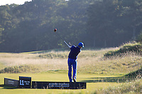 Ronan Keating (AM) on the 11th tee during Round 2 of the 2015 Alfred Dunhill Links Championship at Kingsbarns in Scotland on 2/10/15.<br /> Picture: Thos Caffrey | Golffile