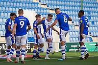 Sammie Szmodics of Colchester United and Harry Pell with a rehearsed goal celebration during Colchester United vs Crawley Town, Sky Bet EFL League 2 Football at the JobServe Community Stadium on 13th October 2018
