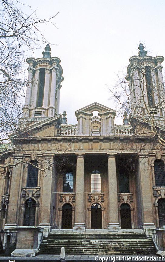 London: St. John, Smith Square, 1714-28. Thomas Archer, after Sant' Agnese, Rome, 1653-66.