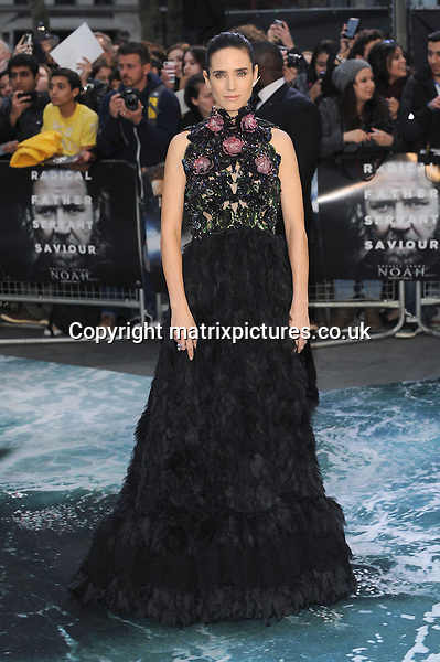 NON EXCLUSIVE PICTURE: PAUL TREADWAY / MATRIXPICTURES.CO.UK<br /> PLEASE CREDIT ALL USES<br /> <br /> WORLD RIGHTS<br /> <br /> American actress Jennifer Connelly attending the UK Premiere of Noah, at Odeon Leicester Square in London<br /> <br /> MARCH 31st 2014<br /> <br /> REF: PTY 141609