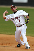 UMass Eric Fredette #4 during a game vs Indiana Hoosiers at Lake Myrtle Main Field in Auburndale, Florida;  March 16, 2011.  Indiana defeated UMass 11-10.  Photo By Mike Janes/Four Seam Images