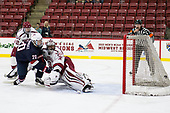 John Marino (Harvard - 12), Randy Hernandez (NTDP - 20), Merrick Madsen (Harvard - 31), Marty Hughes - The Harvard University Crimson defeated the US National Team Development Program's Under-18 team 5-2 on Saturday, October 8, 2016, at the Bright-Landry Hockey Center in Boston, Massachusetts.