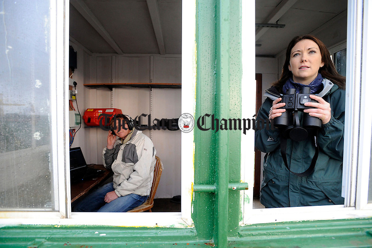 Dr Simon Berrow (l) Marine Biologist and Phd Student Joanne O'Brien in their Dolphin Field Research Hut at Moneypoint.Pic Arthur Ellis.