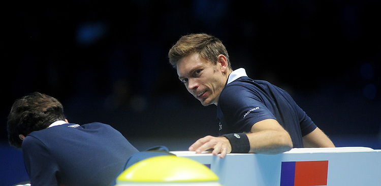Nicolas Mahut grimacing in pain after having a fall<br /> <br /> Photographer Hannah Fountain/CameraSport<br /> <br /> International Tennis - Nitto ATP World Tour Finals Day 2 - O2 Arena - London - Monday 12th November 2018<br /> <br /> World Copyright © 2018 CameraSport. All rights reserved. 43 Linden Ave. Countesthorpe. Leicester. England. LE8 5PG - Tel: +44 (0) 116 277 4147 - admin@camerasport.com - www.camerasport.com