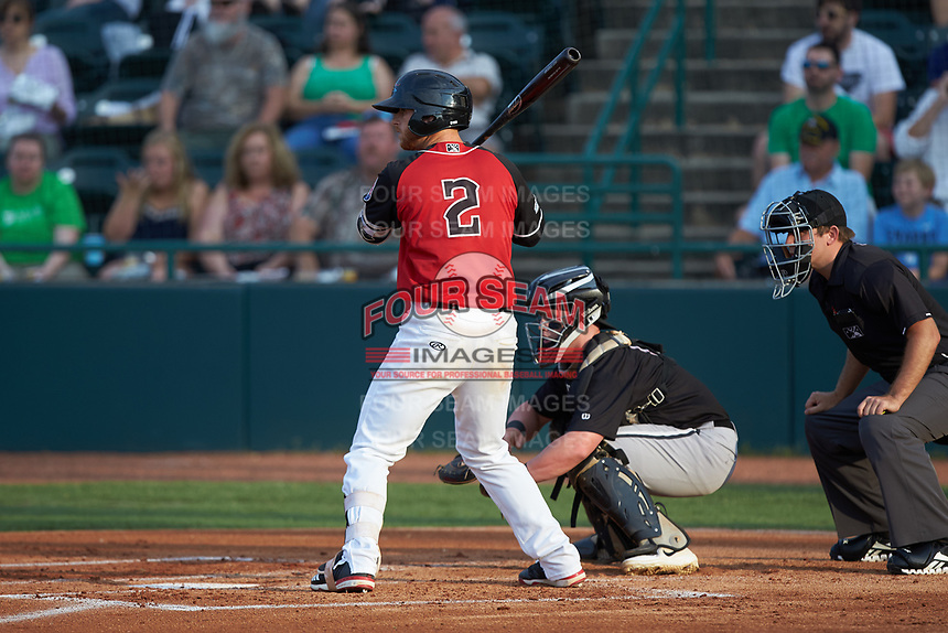 Ryan Dorow (2) of the Hickory Crawdads at bat against the Kannapolis Intimidators at L.P. Frans Stadium on July 20, 2018 in Hickory, North Carolina. The Crawdads defeated the Intimidators 4-1. (Brian Westerholt/Four Seam Images)