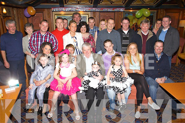 Larry and Kevin Hickey, Ballyspillane, Killarney, who celebrated their 60th and 30th Birthday's on Saturday night in the Killarney Avenue hotel, with family and friends, pictured l-r: Patrick O'Brien, Ann-Marie Hickey, Chelsea O'Brien, Bridget Hickey, Larry Hickey, McKensie O'Brien, Kevin Hickey, Nakisha O'Brien, Shannon O'Shea and Pj Burke. Back Johnny O'Sullivan, Geraldine O'Sullivan, Patrick O'Brien, Michael McCarthy, Denise O'Doherty, Caroline O'Brien, Liam O'Connell, Theresa O'Shea, Timmy O'Shea, Katie O'Sullivan, Danny O'Shea, Ger Reen, Tadgheen O'Sullivan, Siobhan Griffin and Paudie Dwyer.
