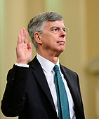 William B. Taylor, Chargé d'Affaires Ad Interim, Kyiv, Ukraine, United States Department of State, is sworn-in to testify during the US House Permanent Select Committee on Intelligence public hearing as they investigate the impeachment of US President Donald J. Trump on Capitol Hill in Washington, DC on Wednesday, November 13, 2019.<br /> Credit: Ron Sachs / CNP<br /> (RESTRICTION: NO New York or New Jersey Newspapers or newspapers within a 75 mile radius of New York City)