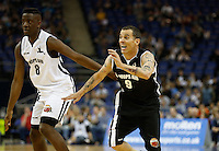 Steve O of Jackass (right) and Jermain Jackman Winner of The Voice UK in action during Hoops Aid 2015 Celebrity AllStars Basketball Match at the o2 Arena, London, England on 10 May 2015. Photo by Andy Rowland.