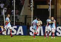 SAO  PAULO, 07 MARÇO 2013 - TAÇA LIBERTADORES DA AMÉRICA - SAO PAULO FC X ARSENAL DE SARANDÍ - Benedetto jogador do Arsenal de Sarandí comemora gol contra o Sao Paulo em partida pela Taça Libertadores da América no Estadio Paulo Machado de Carvalho, o Pacaembu na noite desta quinta-feira, 07. (FOTO: WILLIAM VOLCOV / BRAZIL PHOTO PRESS).