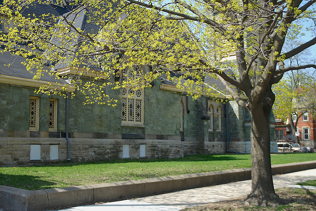 The Greenstone Methodist Church in spring, Pullman Historic District, Chicago, Illinois