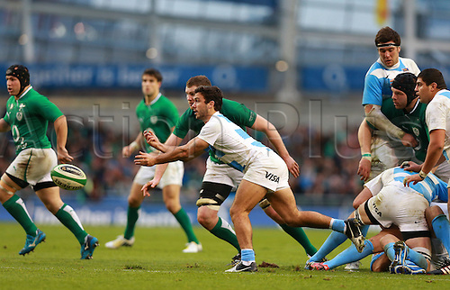 24.11.2012 Dublin, Ireland.Martin Landajo (Argentina) releases the ball from a ruck  during the International Rugby game between Ireland and Argentina from the Aviva Stadium.