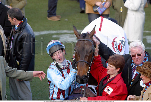 JIM CULLOTY in the winners enclosure with BEST MATE. The Tote Gold Cup Steeple Chase, Cheltenham Festival 030313 Photo:Neil Tingle/Action Plus...2003.Horse Racing national hunt winner winners jockey jockeys steeplechase