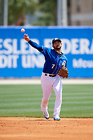 Biloxi Shuckers second baseman Javier Betancourt (7) throws to first base during a game against the Jackson Generals on April 23, 2017 at MGM Park in Biloxi, Mississippi.  Biloxi defeated Jackson 3-2.  (Mike Janes/Four Seam Images)