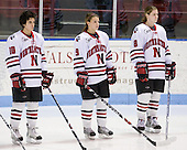 Autumn Prouty (NU - 10), Casie Fields (NU - 9), Alyssa Wohlfeiler (NU - 8) - The University of Connecticut Huskies defeated the Northeastern University Huskies 4-1 in Hockey East quarterfinal play on Saturday, February 27, 2010, at Matthews Arena in Boston, Massachusetts.