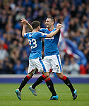 Lee Wallace celebrates his goal with Jason Holt