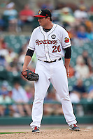 Rochester Red Wings relief pitcher Ryan O'Rourke (20) looks in for the sign during a game against the Indianapolis Indians on May 26, 2016 at Frontier Field in Rochester, New York.  Indianapolis defeated Rochester 5-2.  (Mike Janes/Four Seam Images)
