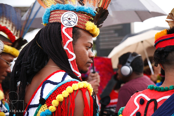 Amerinidans from Suriname at the Smoke ceremony -