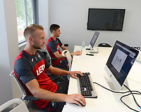Swansea City's Mike Van Der Hoorn (left) in the mind testing room on his first day back for the new season.