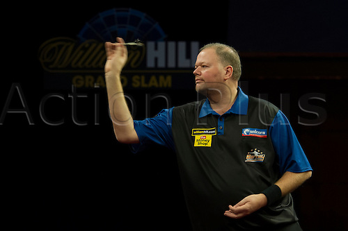 18.11.2012 Wolverhampton, England.  Raymond van Barneveld in action during the William Hill Grand Slam of Darts from the Wolverhampton Civic Hall.