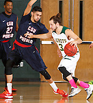 JANUARY 24, 2015 -- Brady Bisgaard #3 of Black Hills State drives toward Josh Smith #15 of CSU-Pueblo during their Rocky Mountain Athletic Conference men's basketball game at the Donald E. Young Center in Spearfish, S.D. Saturday. (Photo by Dick Carlson/Inertia)