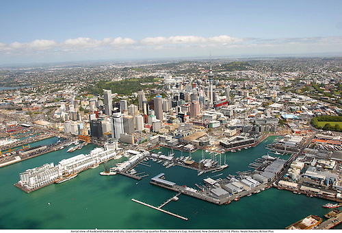 Aerial view of Auckland Harbour and city, Louis Vuitton Cup quarter-finals, America's Cup, Auckland, New Zealand, 021114. Photo: Neale Haynes/Action Plus...2002.sailing sails sail yachting yachts.water watersport sport watersports.harbour marinas harbours.general view views gv........